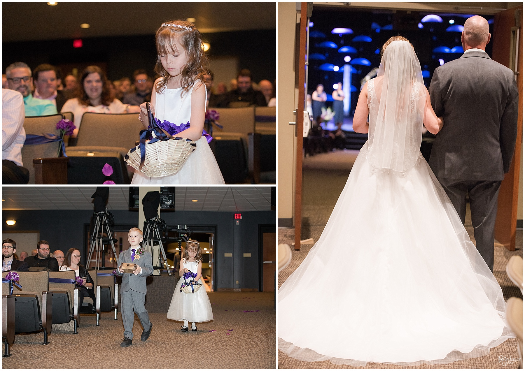 Flower girl and ring bearer walking down the aisle by Raindancer Studios Indianapolis Wedding Photographer Jill Howell