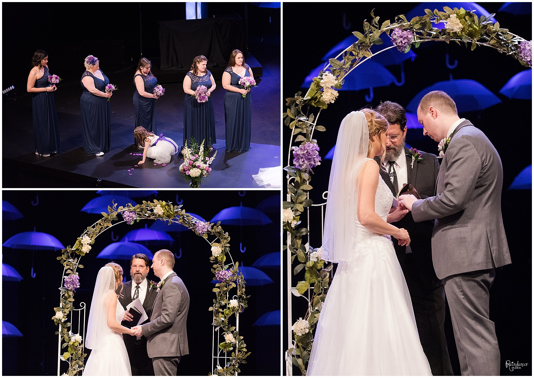 Bride and groom exchanging of rings by Raindancer Studios Indianapolis Wedding photographer Jill Howell