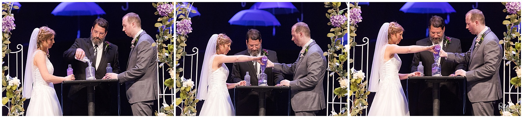 pouring of the sand ceremony by bride and groom by Raindancer Studios Indianapolis Wedding Photographer Jill Howell