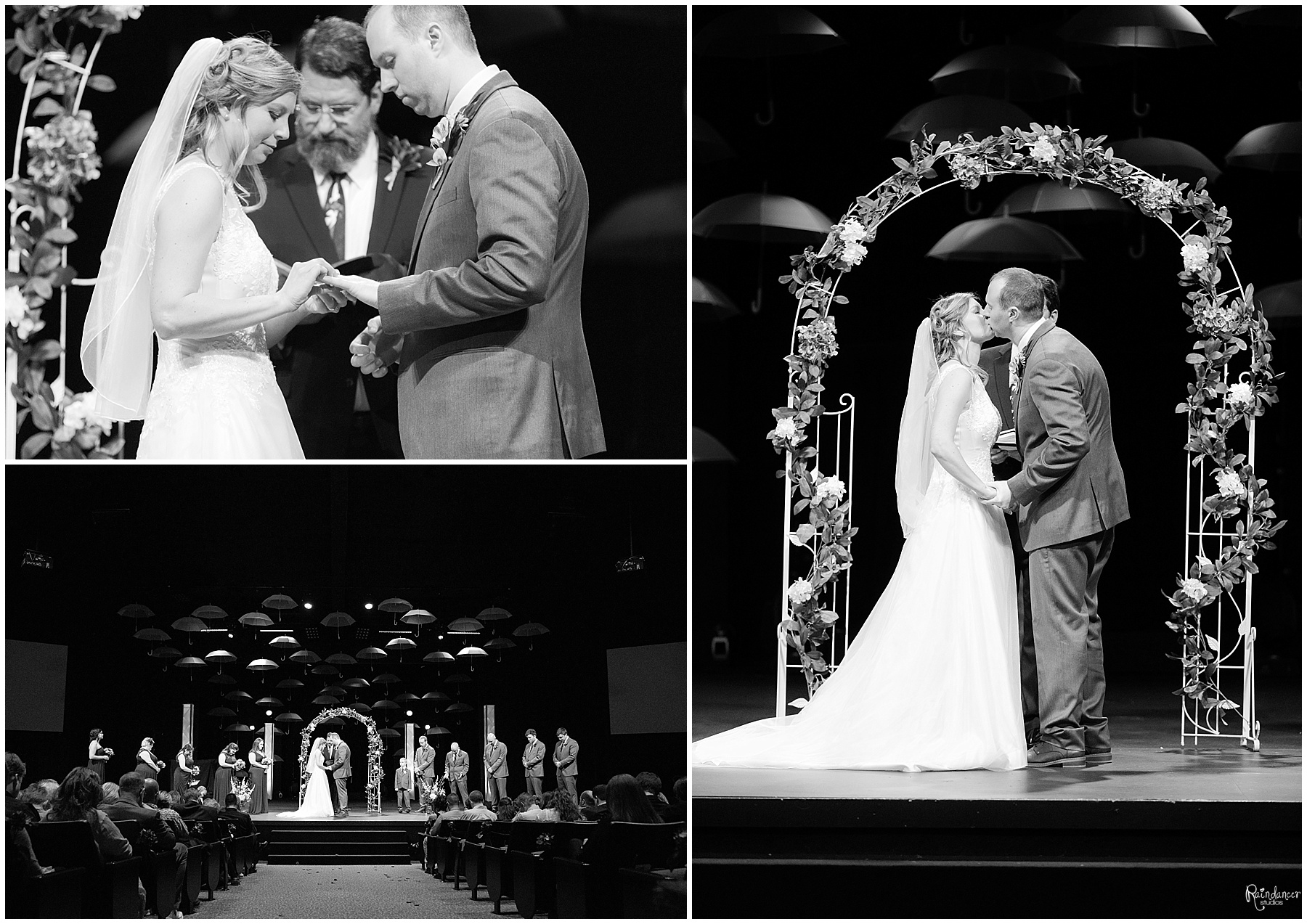 Groom kissing his bride during the wedding ceremony By Raindancer Studios Indianapolis Wedding Photographer Jill Howell