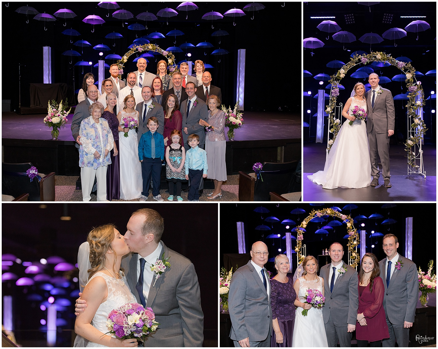Bride and groom with family after the wedding by Raindancer Studios Indianapolis Wedding Photographer Jill Howell