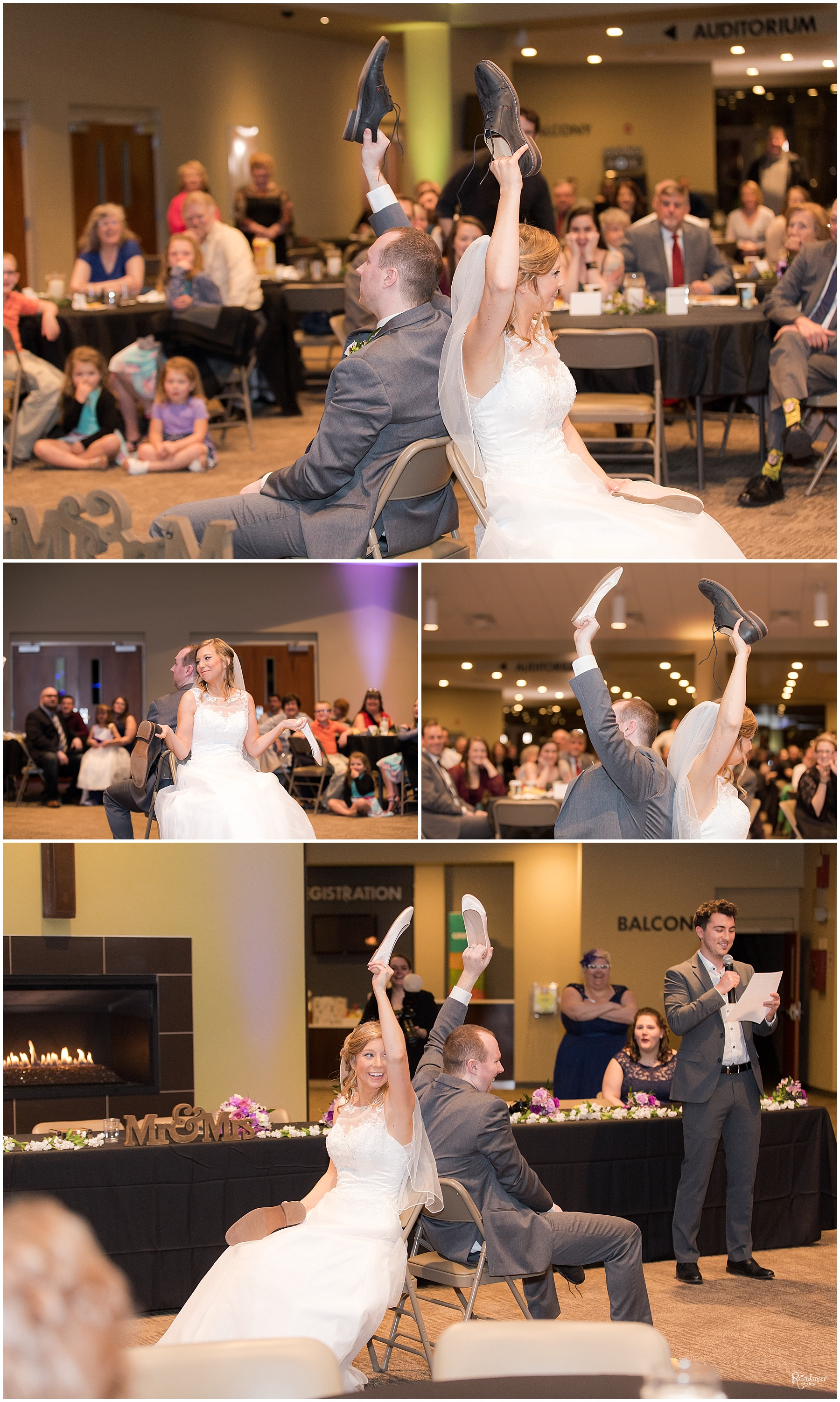 Bride and groom playing shoe game by Raindancer Studios Indianapolis Wedding Photographer Jill Howell