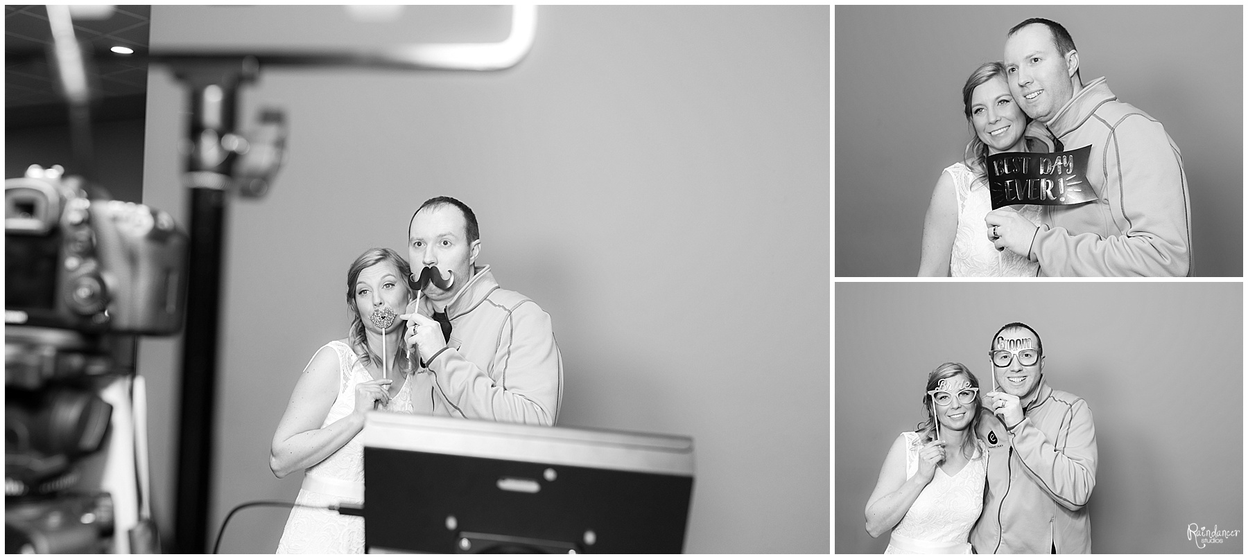 Bride and groom taking pictures at a Photo Booth by Raindancer Studio Indianapolis Wedding Photographer Jill Howell