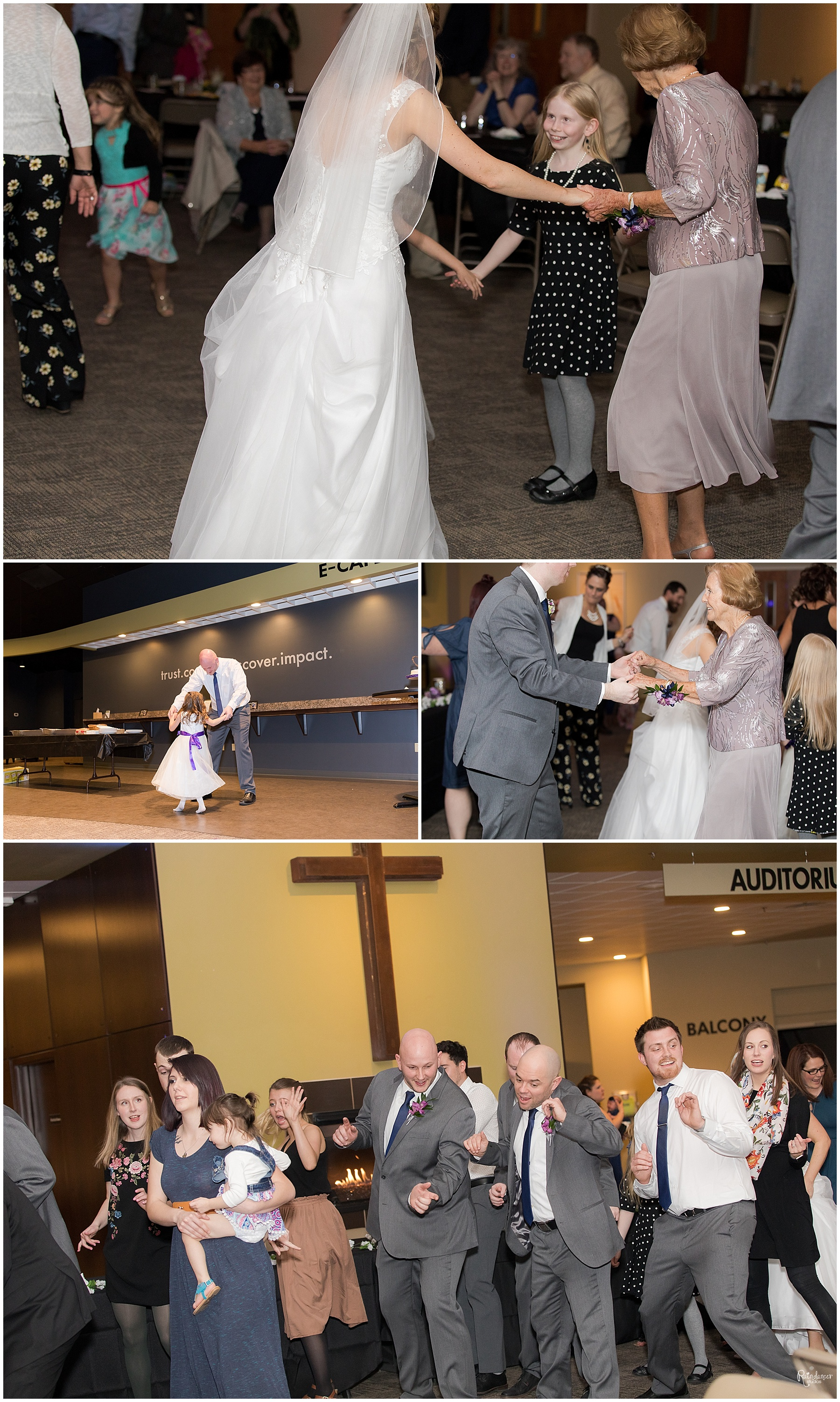 Bride, groom, and wedding party dancing at reception by Raindancer Studios Indianapolis Wedding Photographer Jill Howell