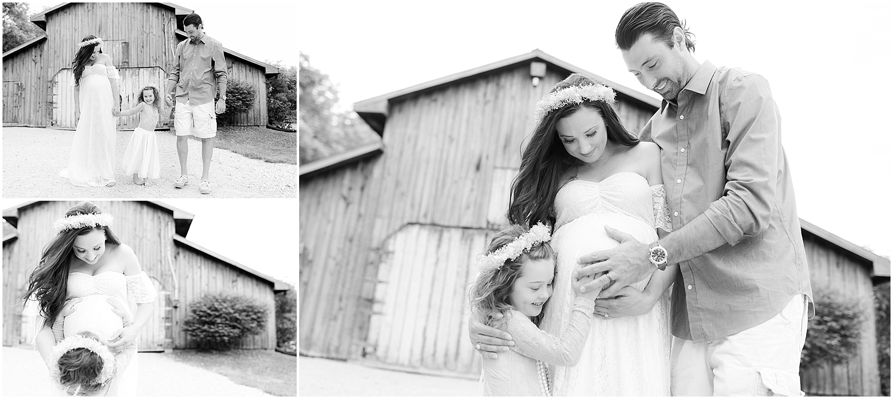 Husband, wife and daughter holding mothers belly. Indianapolis Maternity Photographer