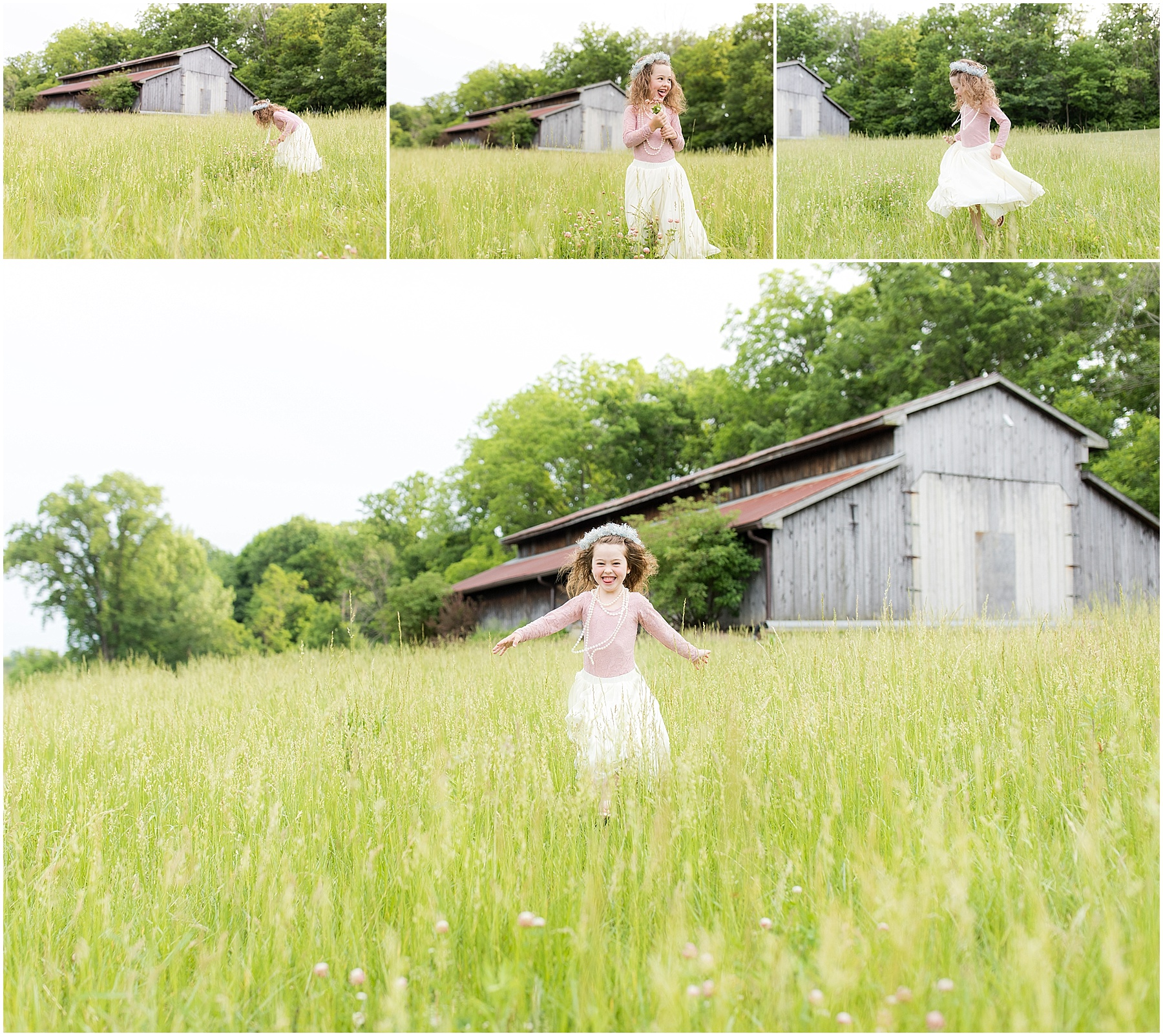 Little girl running and dancing in the field, Indianapolis Children Photography