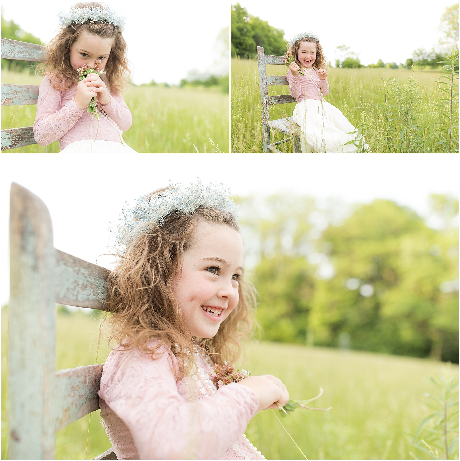 Little girl in a pink dress picking flowers in the field, Indianapolis Children's Photographer