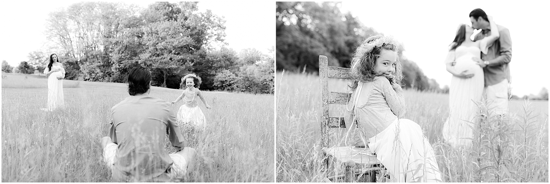 Father playing with his daughter in the field, with expecting wife smiling in the distance, Indianapolis Maternity Photography