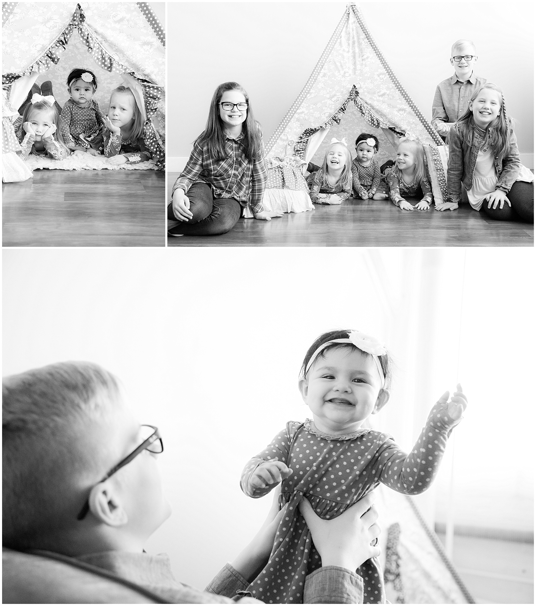 Six kids sitting by Matilda Jane teepee. Indianapolis Children Photographer