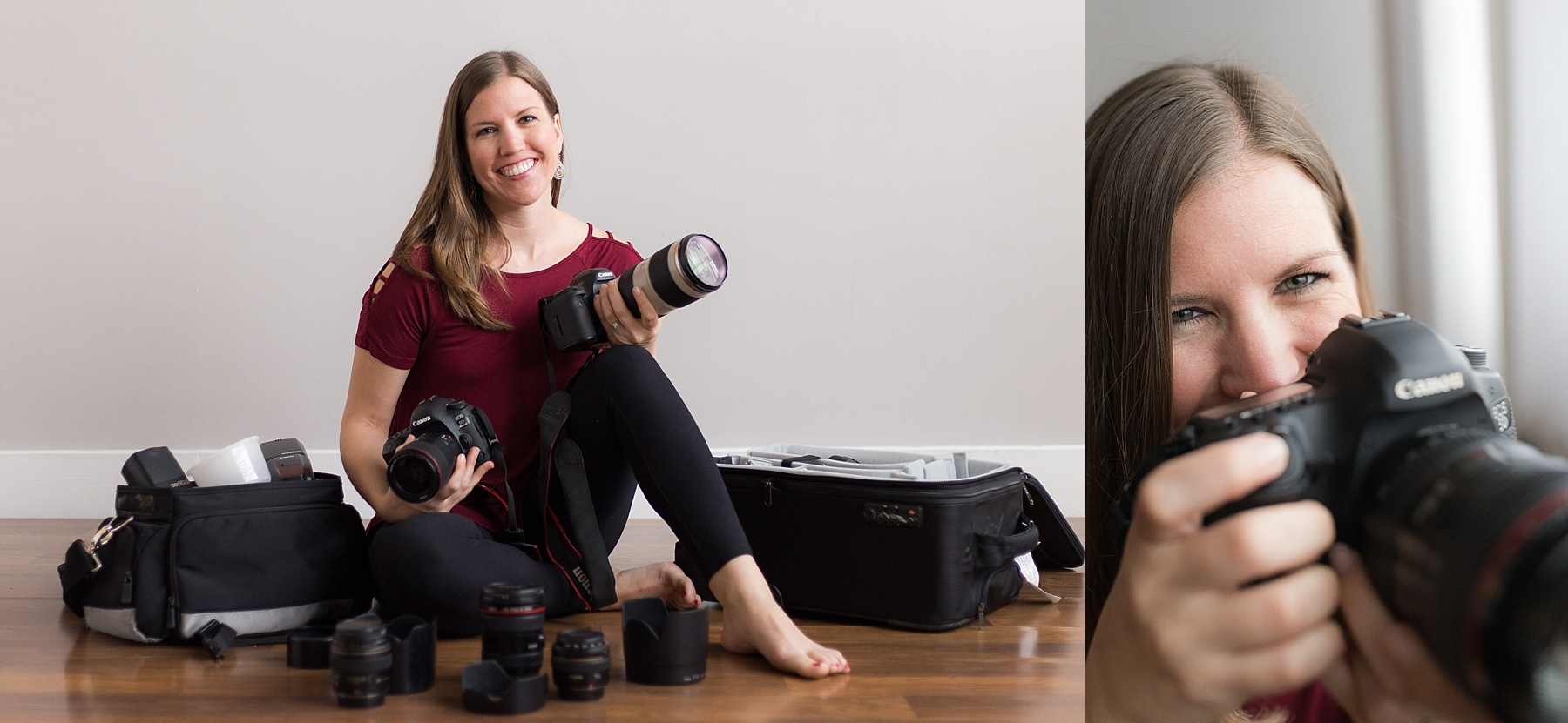 Indianapolis Family Photographer posed with camera equipment.