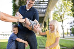 Father being silly and tickling his three children, Columbus Family Photographer, Raindancer Studios