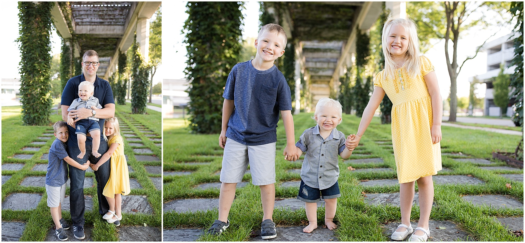 Father with his two sons and daughter, Columbus Family Photography, Raindancer Studios