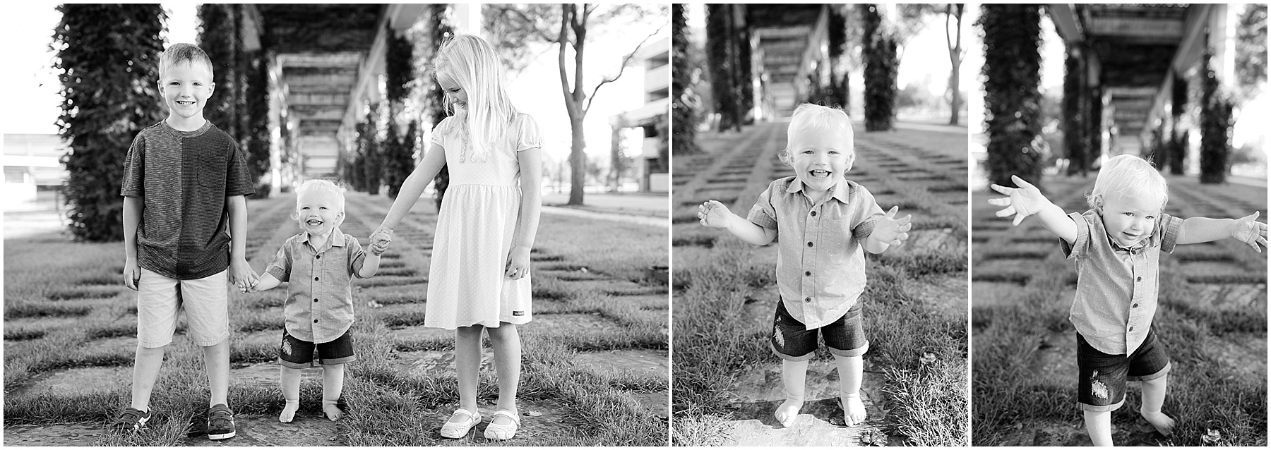 Big brother and sister holding one year old brothers hands, Columbus Family Photographer, Raindancer Studios