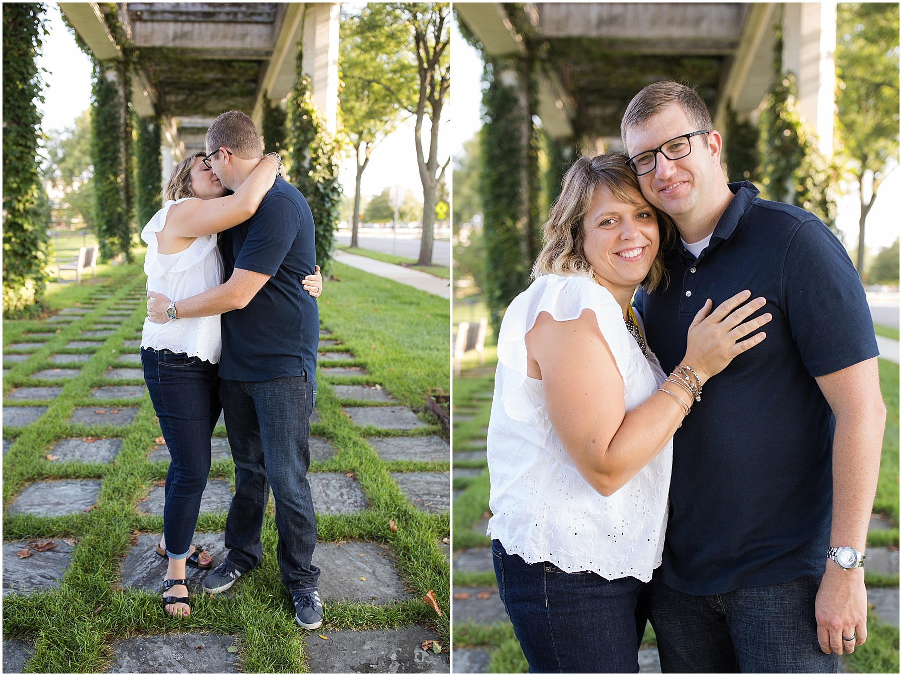Husband and wife holding each other and kissing, Columbus Family Photographer, Raindancer Studios
