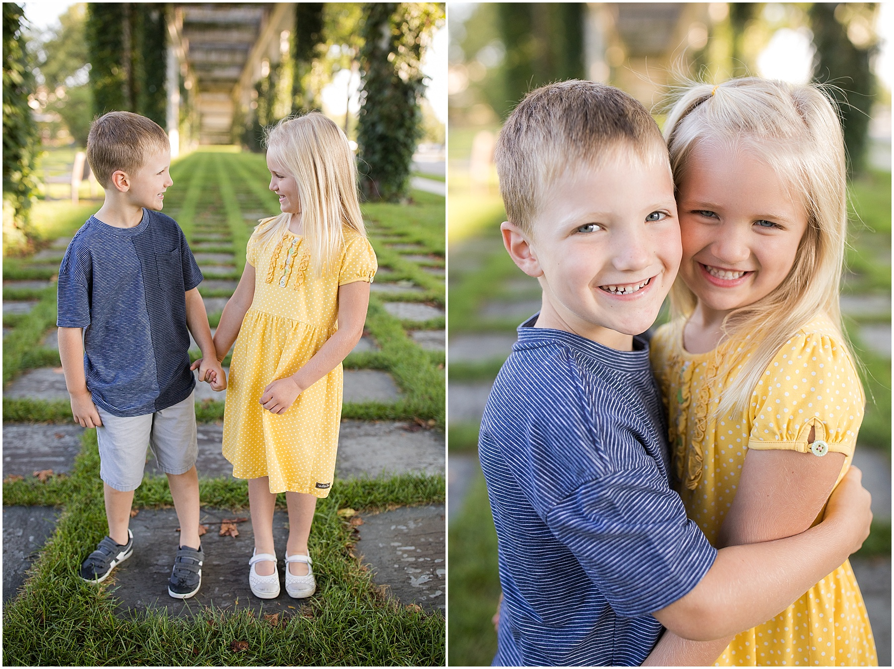 Twin siblings holding hands and hugging, Columbus Family Photography, Raindancer Studios