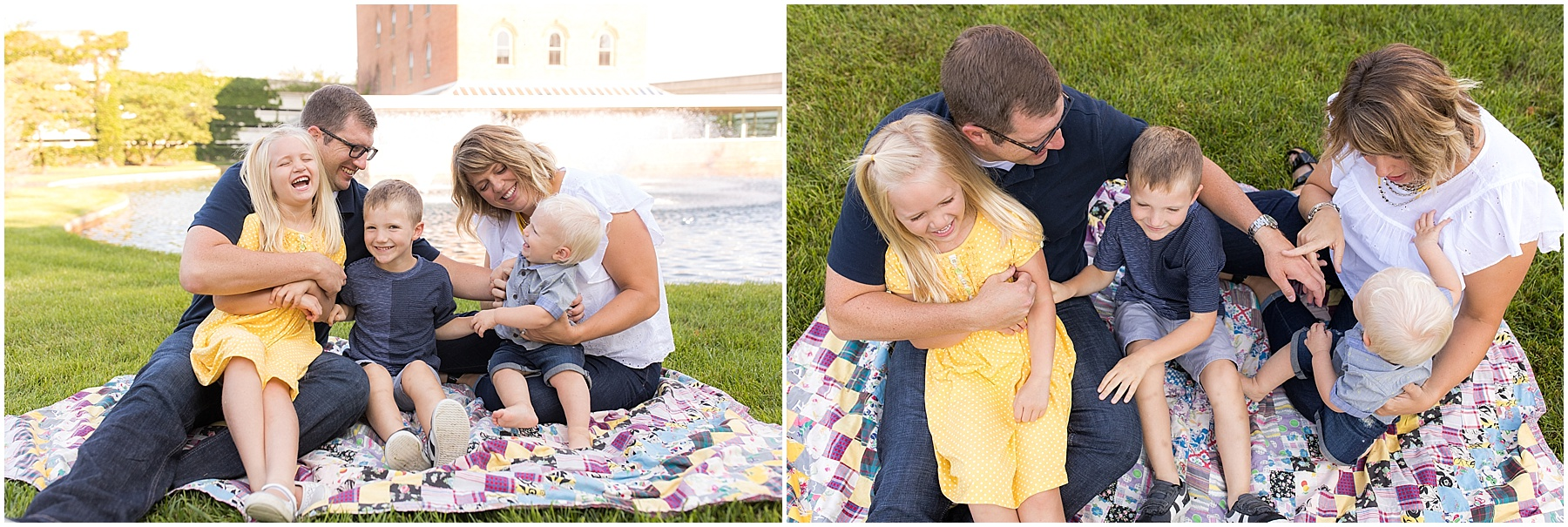 Parents and three children hugging on a blanket, Columbus Family Photographer, Raindancer Studios