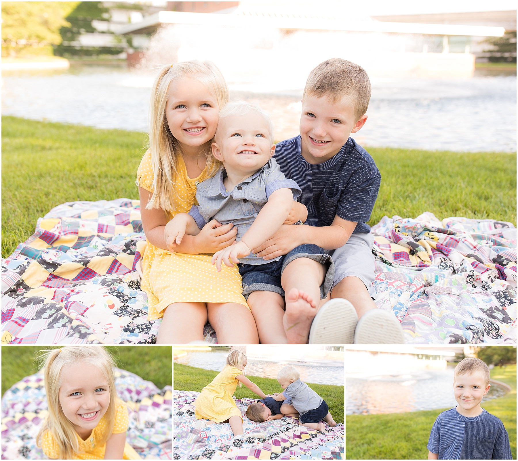 Older siblings holding one year old brother, Columbus Family Photography, Raindancer Studios