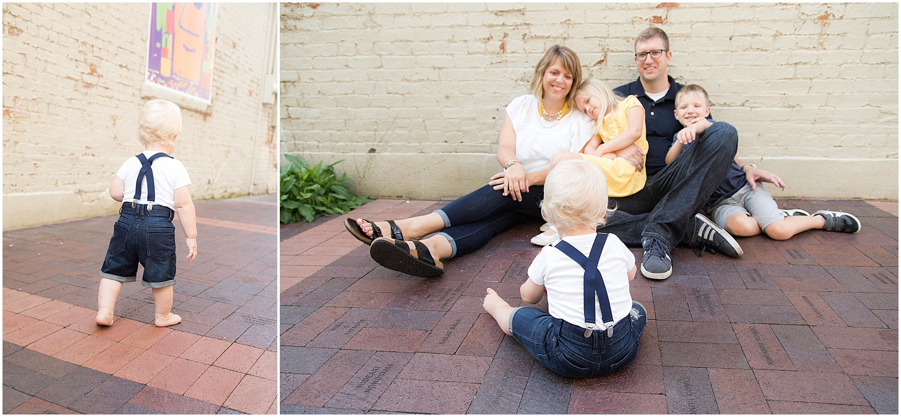 One year old boy with suspenders looking at his parents, Columbus Family Photography, Raindancer Studios