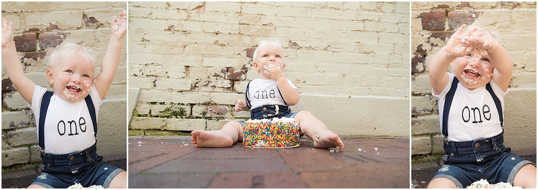 One year old boy with sprinkle smash cake, Columbus Family Photography, Raindancer Studios