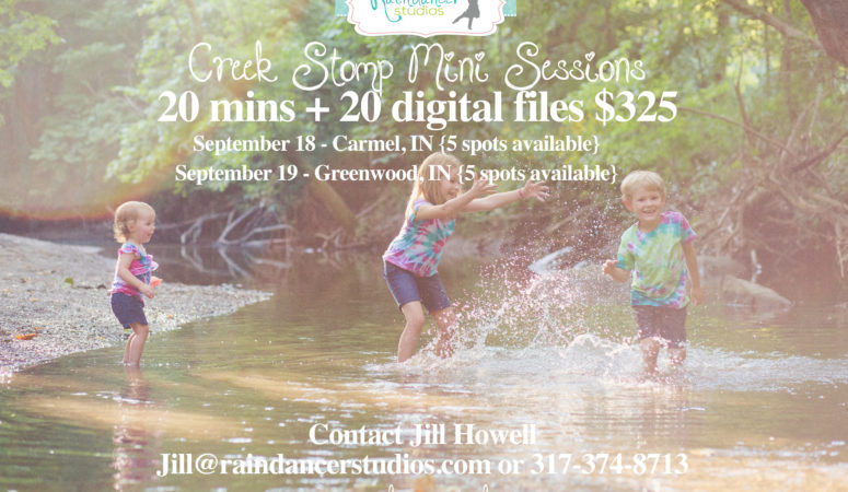 Creek Stomp Mini Sessions in Indianapolis