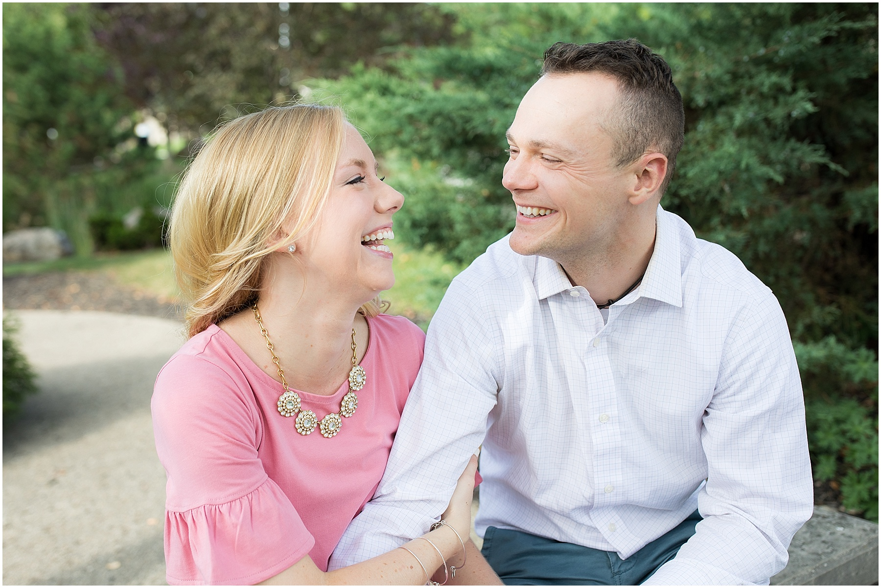 Soon to be married couple laughing and looking at each other, Indianapolis Engagement Photographer, Raindancer Studios
