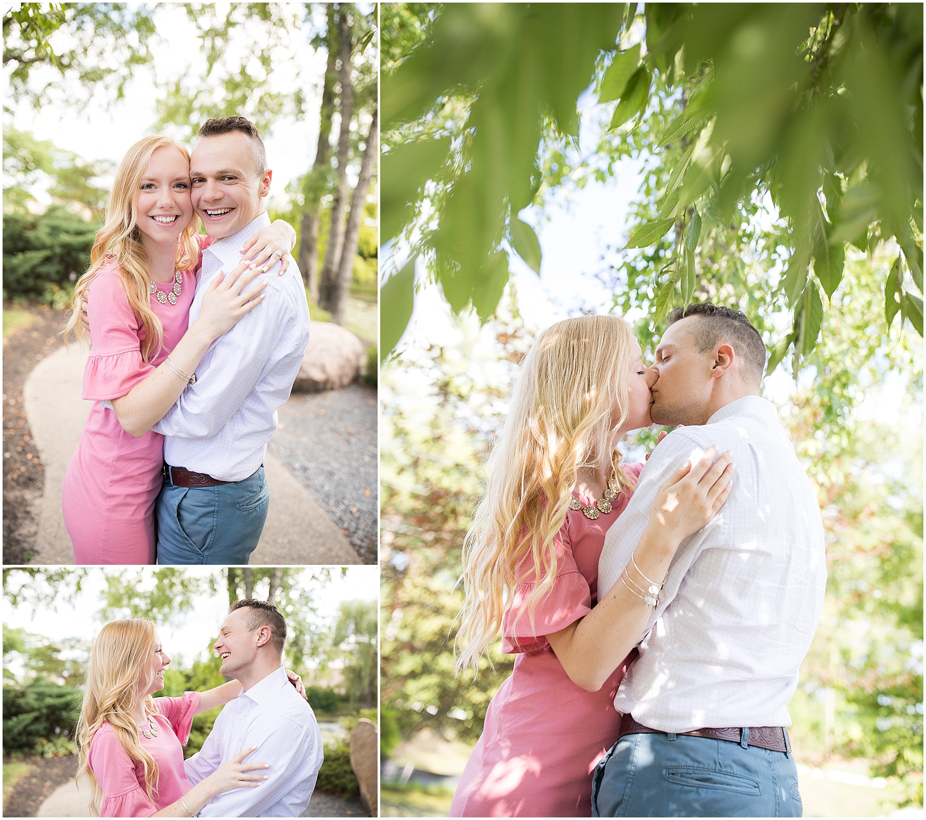 Soon to be husband and wife holding each other close under a tree, Indianapolis Engagement Photographer