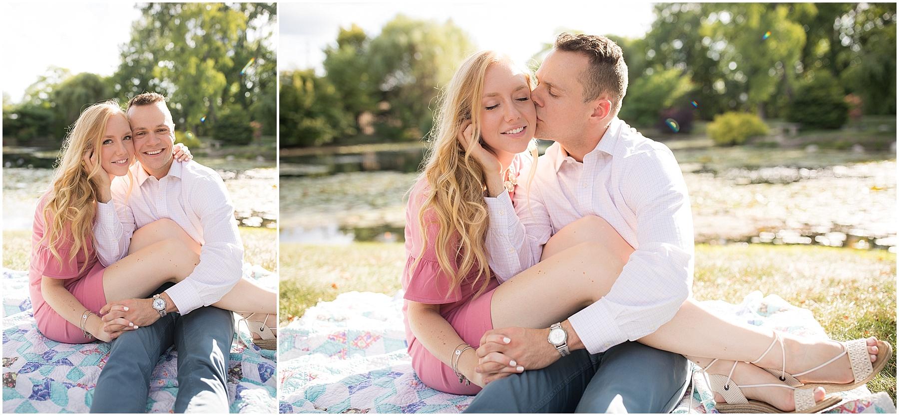 Spouse kissing his bride to be cheeks. Indianapolis Engagement Photographer, Raindancer Studios