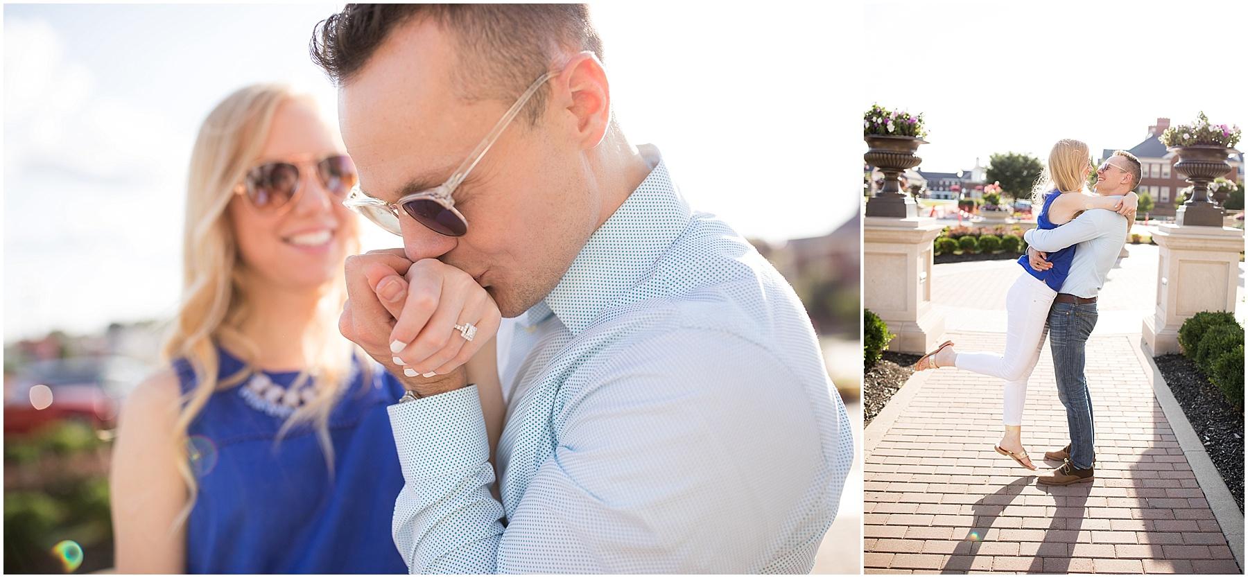 Spouse kissing his soon to be brides hand. Indianapolis Engagement Photographer, Raindancer Studios