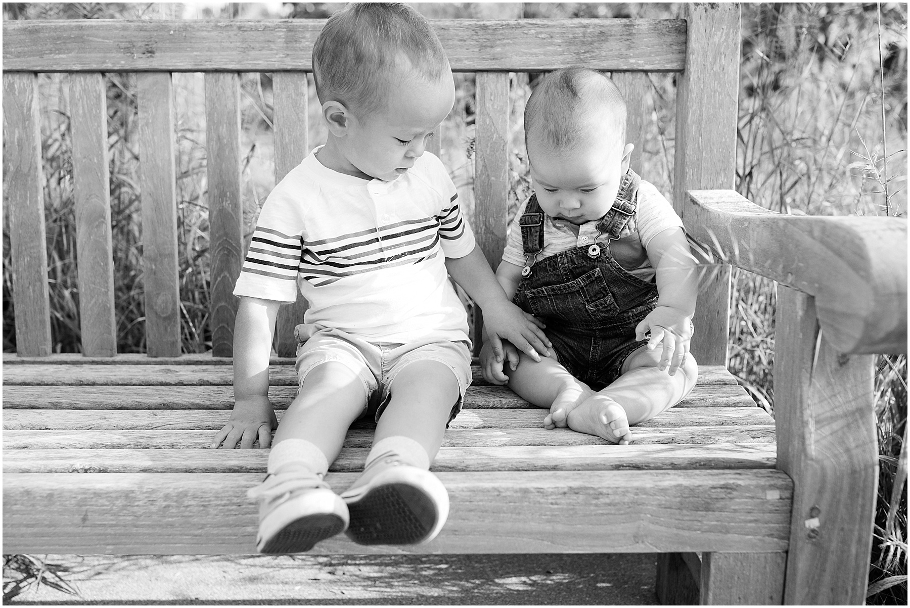 Brother and sister sitting on a outdoor bench, Indianapolis Family Photography, Raindancer Studios