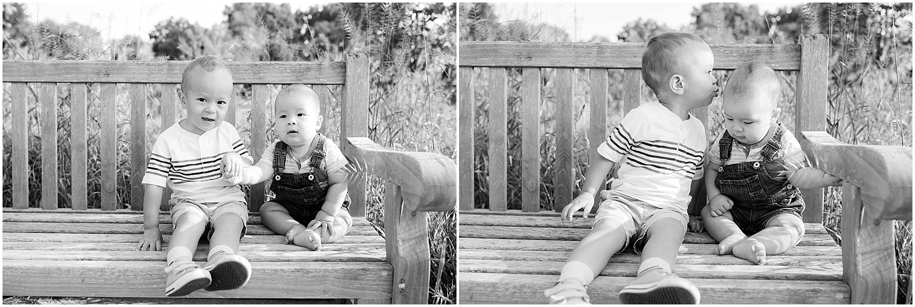 Big brother kissing little sister on the forehead.  Indianapolis Family Photography, Raindancer Studios