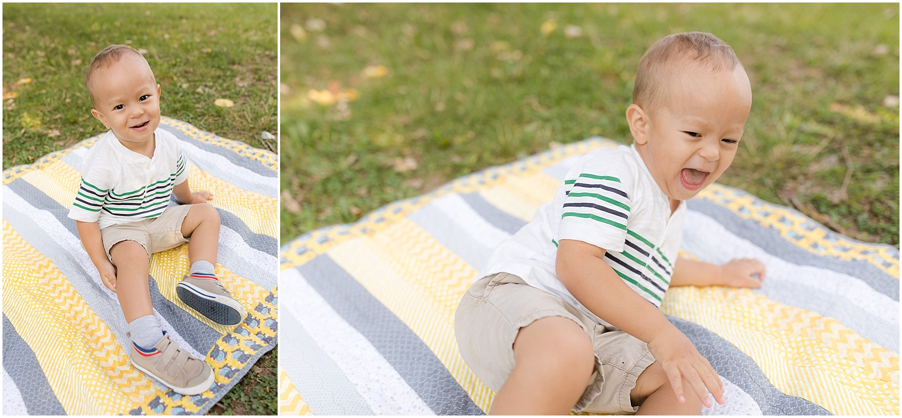 Little boy playing on a blanket. Indianapolis Family Photography, Raindancer Studios