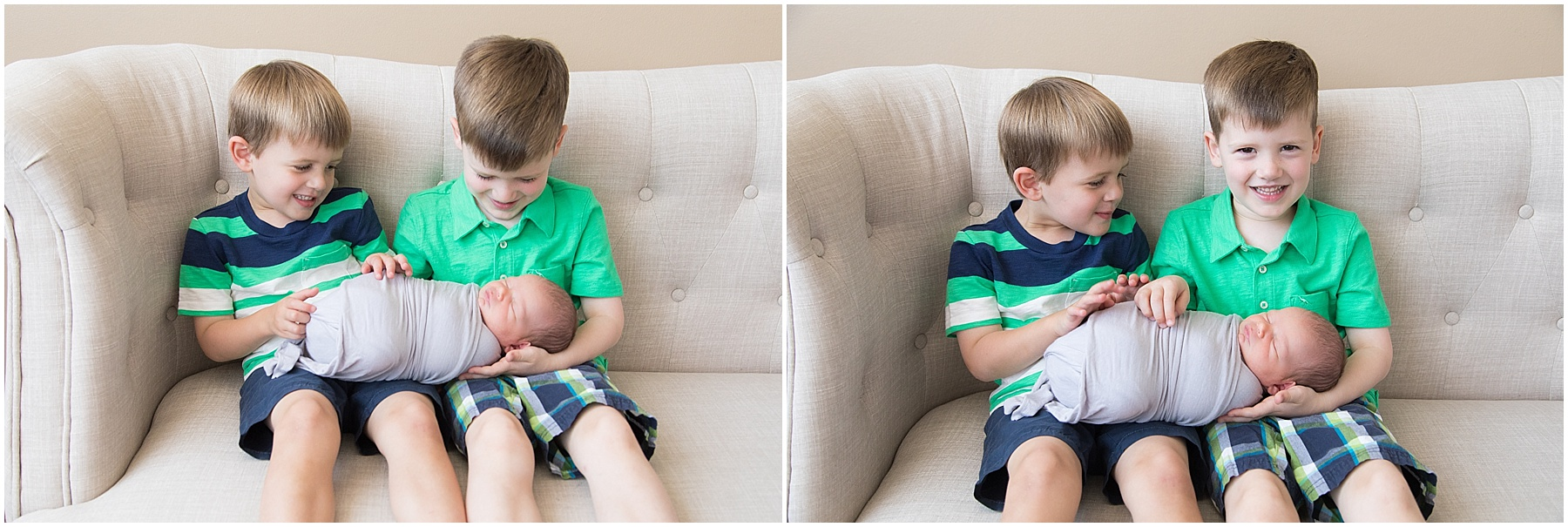 Big brothers looking at their new baby brother, Indianapolis Children Photography, Raindancer Studios