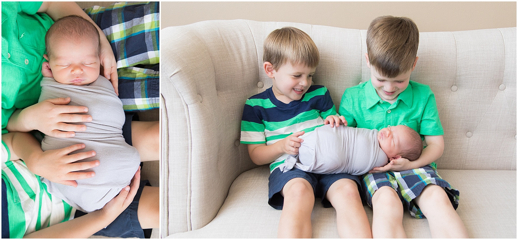 Big brothers giggling while holding newborn baby brother, Indianapolis Children Photography, Raindancer Studios