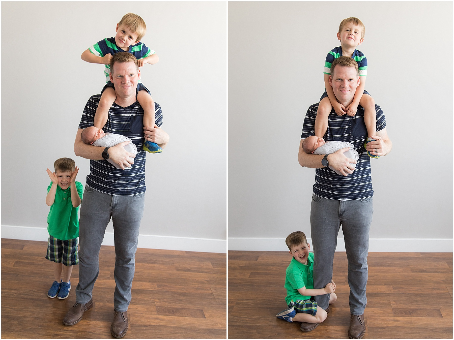 Father and his three boys being silly, Indianapolis Family Photography, Raindancer Studios