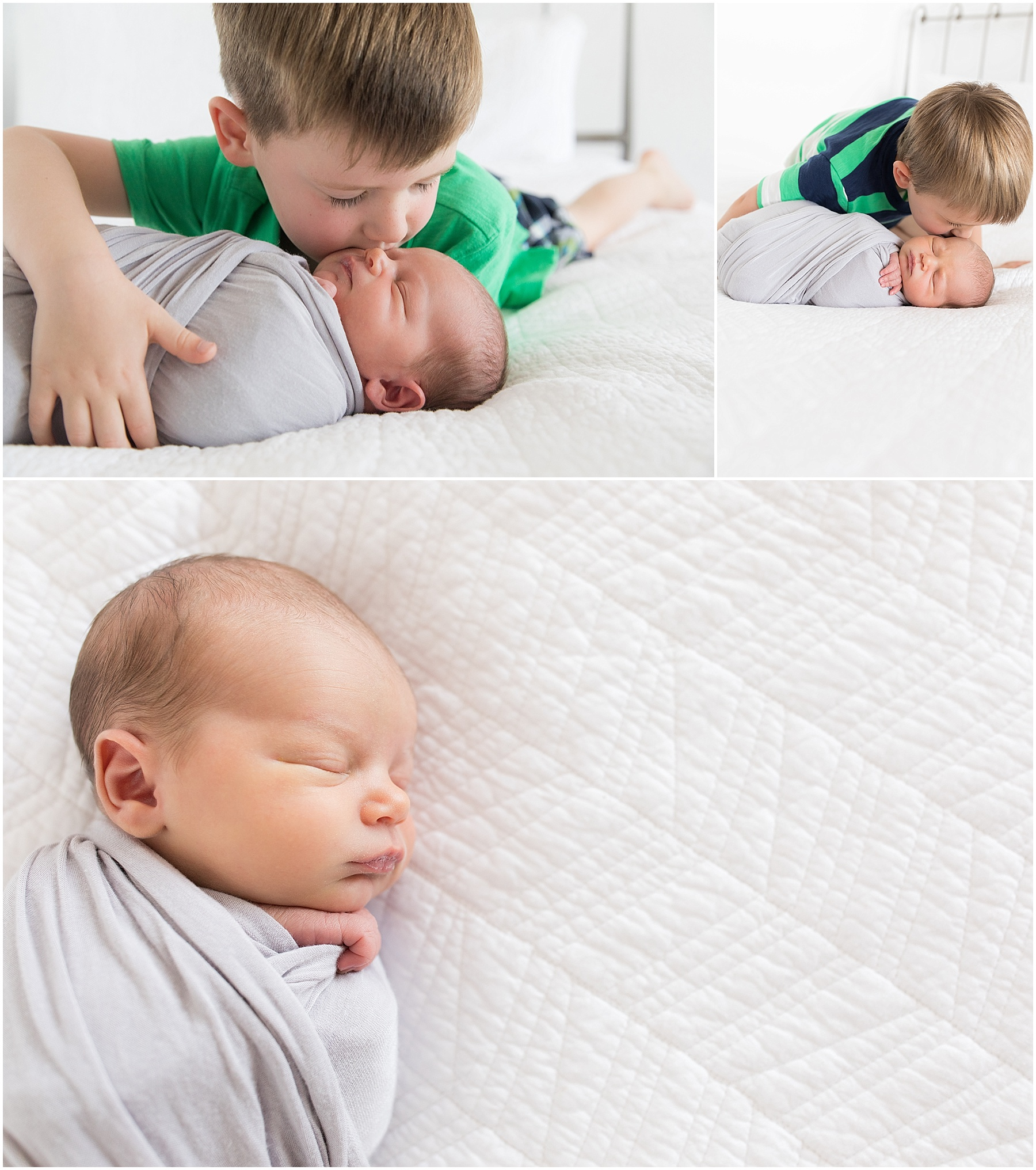 Newborn baby brother with his two older brothers, Indianapolis Newborn Photography, Raindancer Studios
