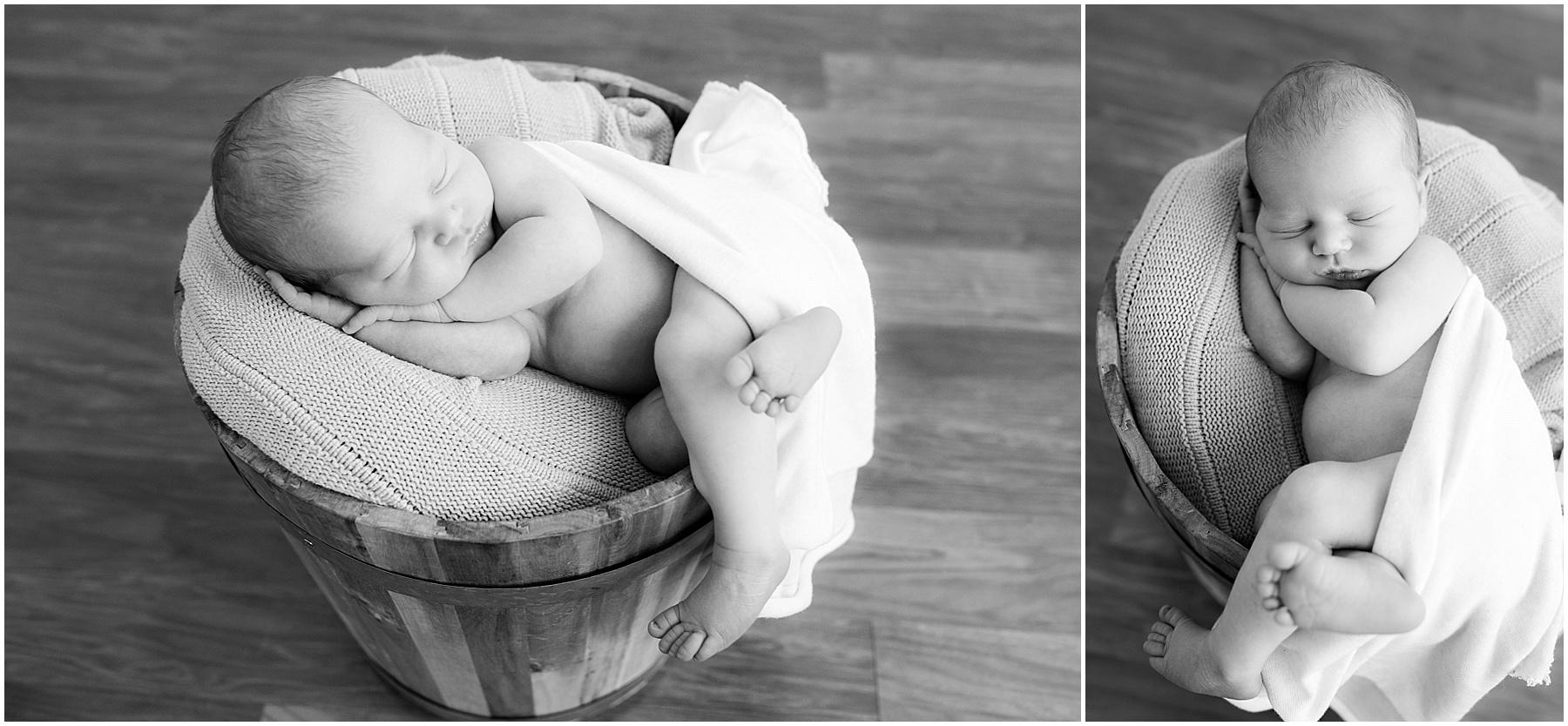 Newborn baby boy swaddled in a bucket, Indianapolis Newborn Photography, Raindancer Studios