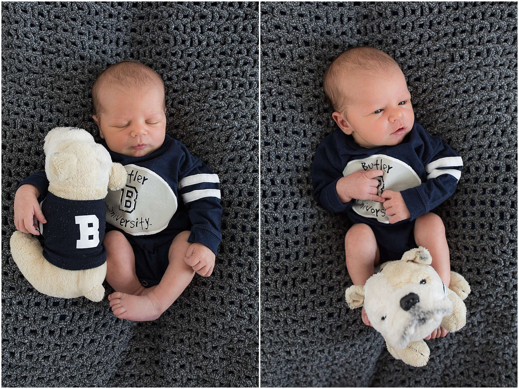 Newborn baby boy and his Butler stuffed animal, Indianapolis Newborn Photography, Raindancer Studios
