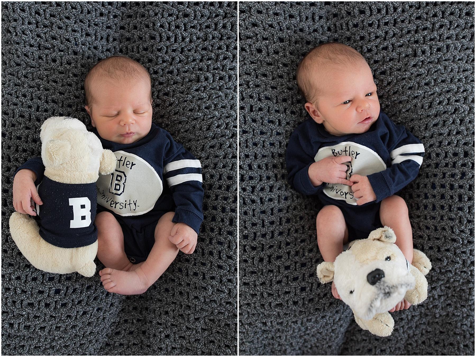 Newborn baby boy and his Butler stuffed animal, Indianapolis Newborn Photography, Raindancer Studios