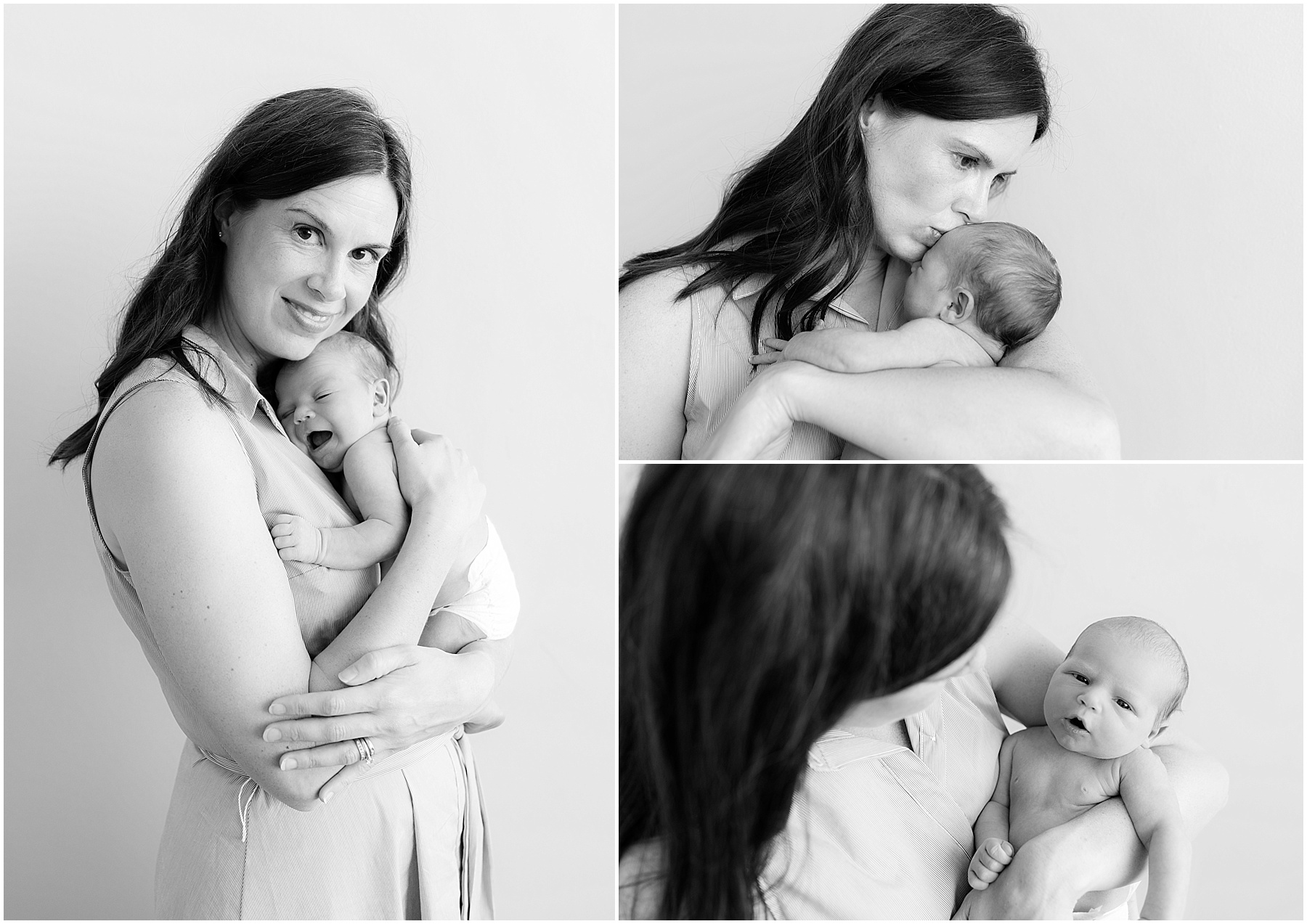 Mother holding her newborn baby boy in her arms, kisses and hugs. Indianapolis Family Photography. Raindancer Studios