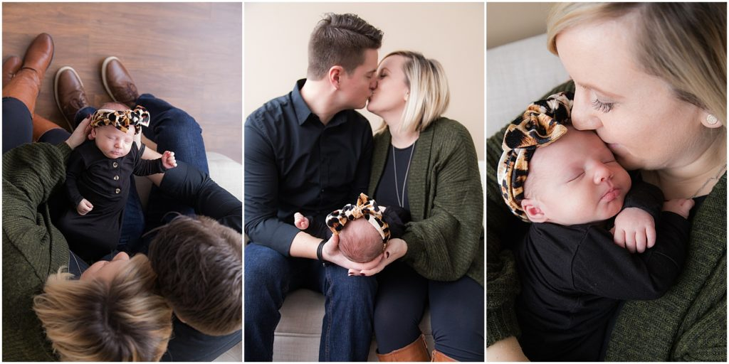 Collage of mother and father with newborn girl. Indianapolis Newborn Photography