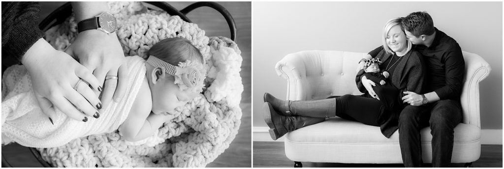 Parents and newborn baby girl. Taken by Indianapolis Newborn Photographer