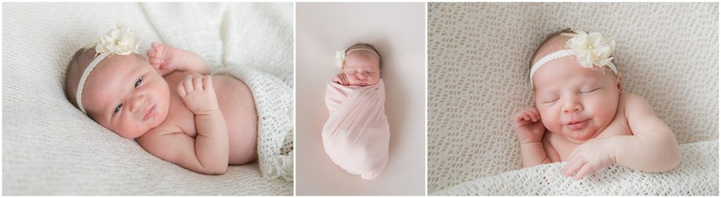 Collage of photos of newborn baby girl. Taken by Newborn Photographer at Indianapolis Studio