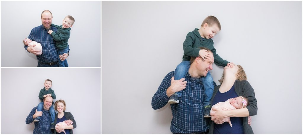Parents with brother and baby girl. Indianapolis Baby Photography
