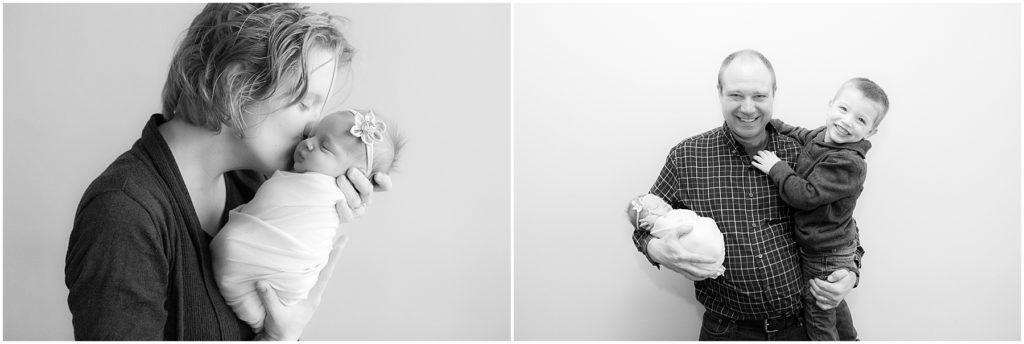 Collage of parents with baby with baby girl and brother. Indianapolis Newborn Photography