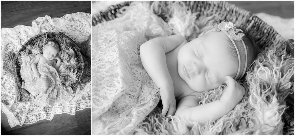 Newborn girl in basket with blanket. Indianapolis Newborn Photographer