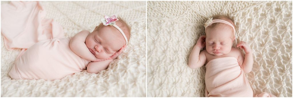 Newborn girl wrapped in pink blanket. Taken by Indianapolis Newborn Photographer