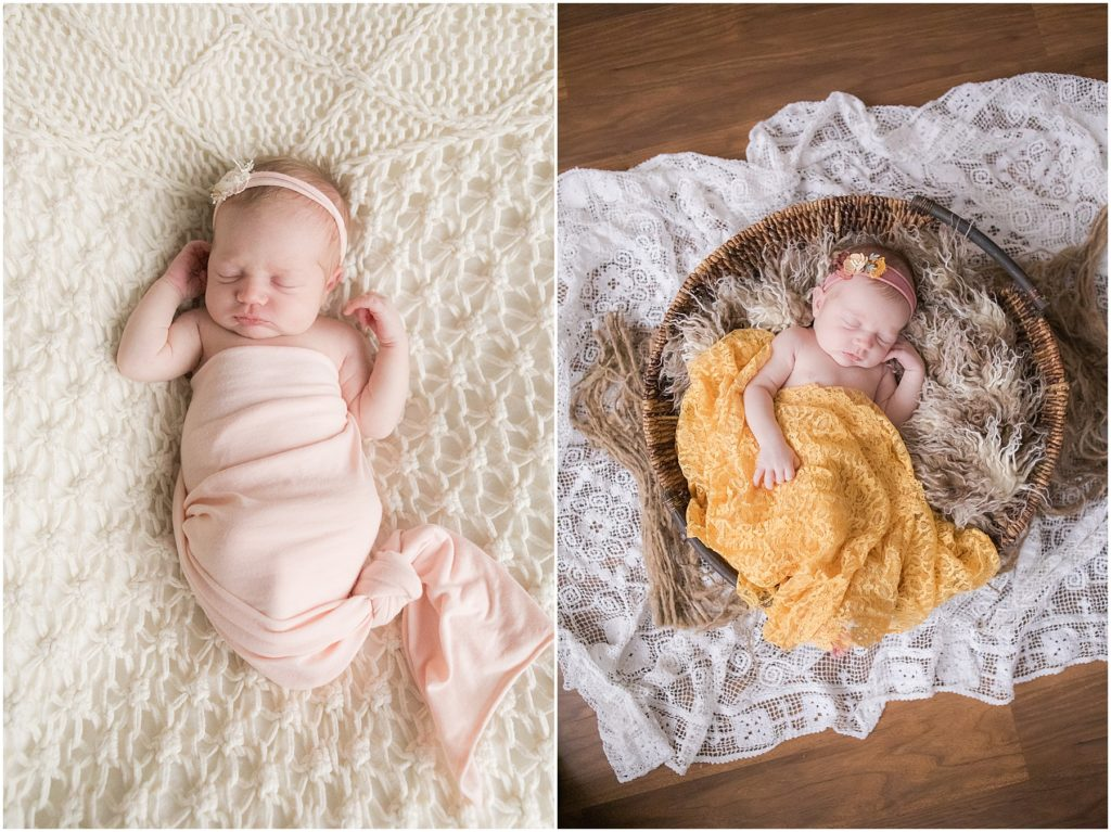 Collage of newborn girl swaddled in blankets. Indianapolis Newborn Photography
