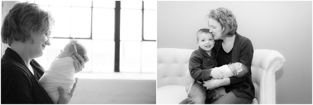 Collage of mother with kids. Indianapolis Newborn Photographer